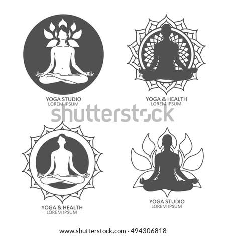 Illustration With Set Of Yoga Studio Symbols Poster Design Or Backdrop Yogi Girl And