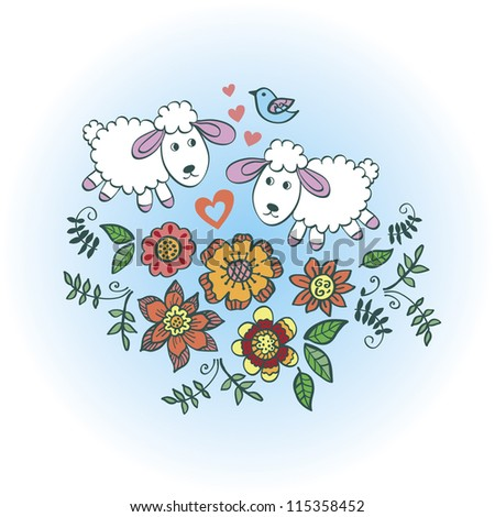 illustration with sheep cartoon
