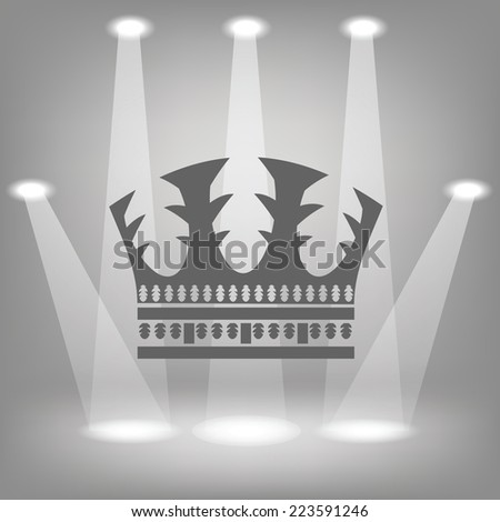 illustration with silhouette of crown  on a spot lights  background - stock vector