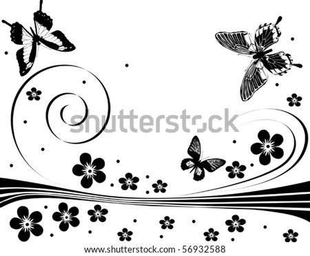Illustration with silhouettes of butterflies, flowers and curls