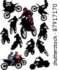 illustration with silhouettes of man on motorcycle isolated on white - stock vector