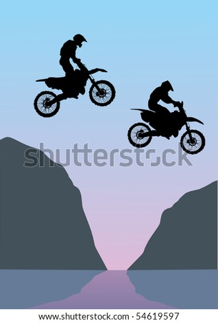 illustration with silhouettes of men on motorcycle - stock vector