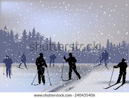 illustration with skiers in forest under snowfall