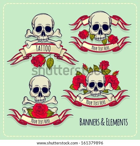 illustration with skull and roses. tattoo. set - stock vector