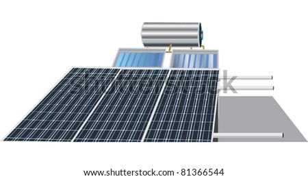 illustration with solar battery isolated on white background