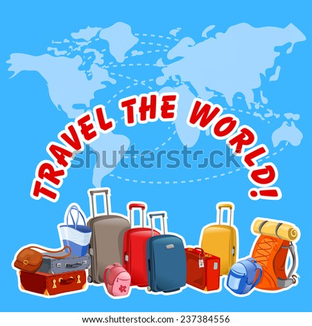 illustration with suitcases and map of the world. vector illustration - stock vector