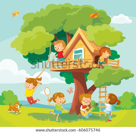 Illustration with summer background, children playing and tree-house
