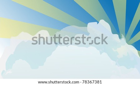 illustration with sun in clouds on blue sky