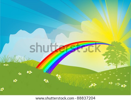 illustration with sun, rainbow and flowers