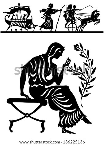 Illustration with the girl in the Greek style - stock vector