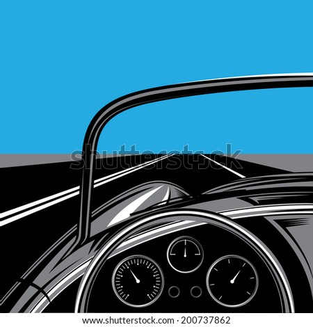illustration with the road, sky and traveling car - stock vector
