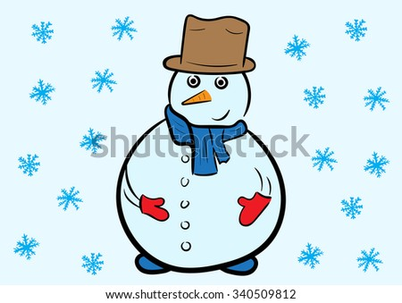 Illustration with the smiling snowman under snowfall - stock vector