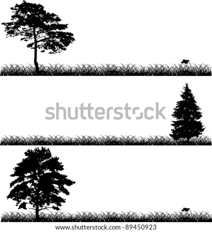 illustration with three black trees in grass - stock vector