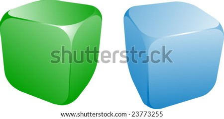 illustration with two blue dice on white background. - stock vector
