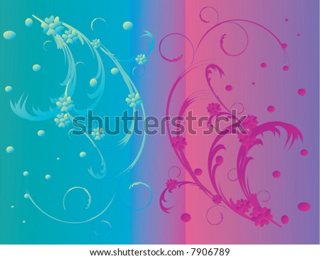 illustration with two color floral decoration