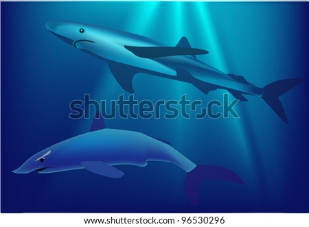 illustration with two sharks in blue sea