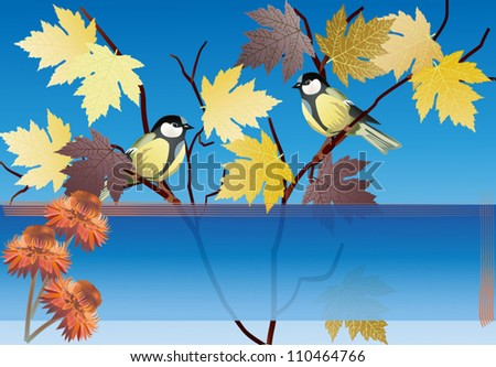 illustration with two tits on golden maple