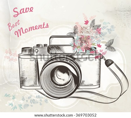 Illustration with vintage hand drawn camera flowers and butterflies save best moments - stock vector