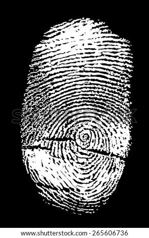 illustration with white finger print isolated on black background