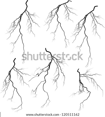illustration with white lightning collection isolated on black background - stock vector