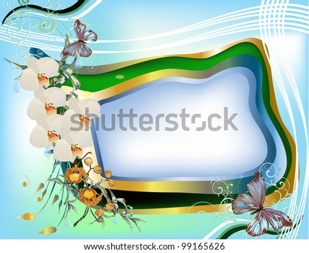 illustration with white orchid flowers and butterflies