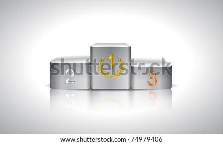 illustration with white prize podium - stock vector