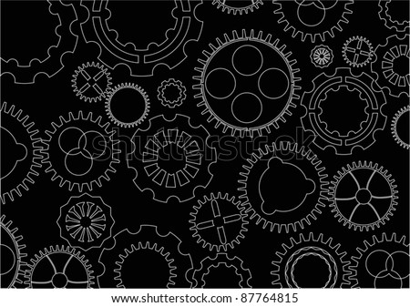 illustration with white silhouette gears background - stock vector
