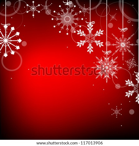 illustration with white snowflakes on red background - stock vector