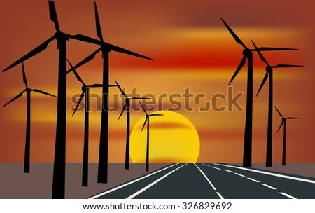 illustration with wind power generator silhouettes along road