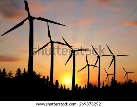 illustration with wind power generator silhouettes in country landscape - stock vector