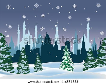 illustration with winter fir forest near city