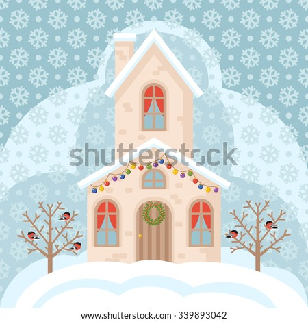 Illustration with winter sweet house in snow, tree with bullfinch and wreath; Christmas and New Year card vector illustration - stock vector