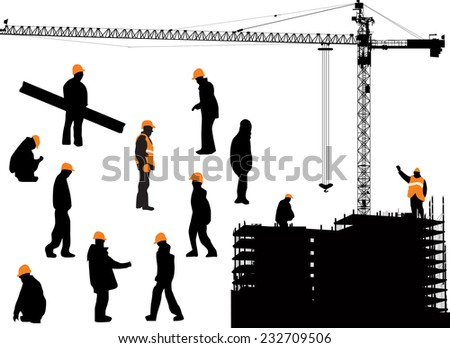 illustration with workers and house building isolated on white background - stock vector