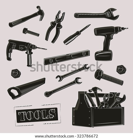 Illustration with working tools . - stock vector