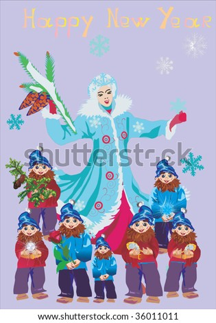 illustration with young girl with christmas tree and seven gnomes