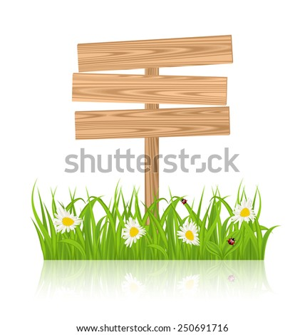 Illustration wooden signboard for guidepost with field green grass and camomile and ladybugs - vector - stock vector