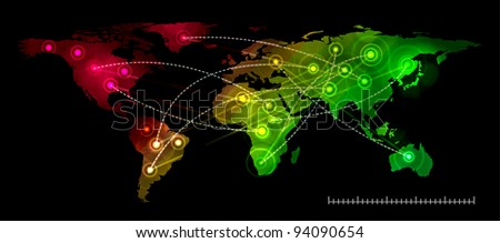 Illustration world map. Concept communication. - stock vector