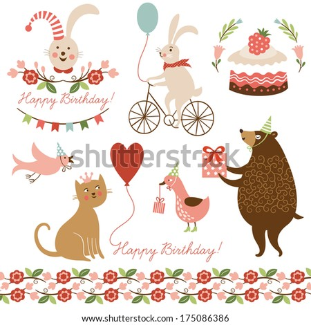 illustrations and graphic elements for greeting cards  - stock vector