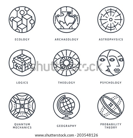 Illustrations and logo templates of science areas. Ecology, Archaeology, Astrophysics, Logic, Theology, Psychology, Quantum Physics, Geography, Probability theory. Detailed vector icons set. - stock vector