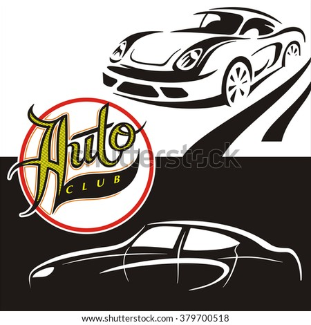 Illustrations Black And White Cars With The Sign Auto Club
