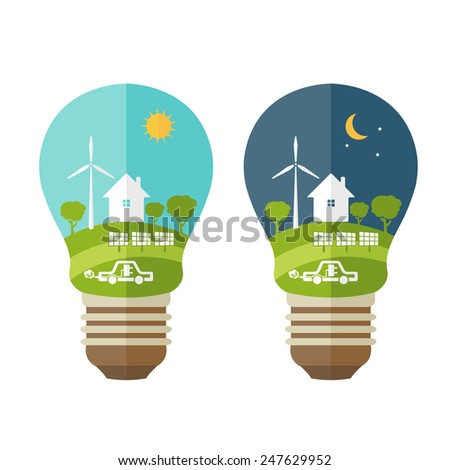 Illustrations concept  of lamp with icons of ecology, environment, green energy. Vector  - stock vector