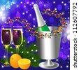 illustrations festive background with wine goblet and orange - stock photo