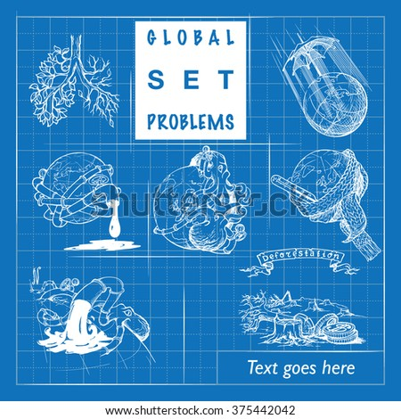 Illustrations for various environmental topics. Icons set. Sketch imitating blueprint. Sketch is isolated on a separate layer. EPS10 vector illustration. - stock vector