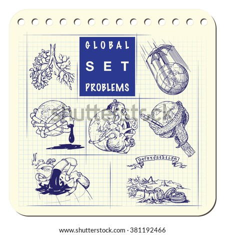Illustrations for various environmental topics. Icons set. Sketch imitating ink pen scribbling in a notepad. Sketch is isolated on a separate layer. EPS10 vector illustration. - stock vector