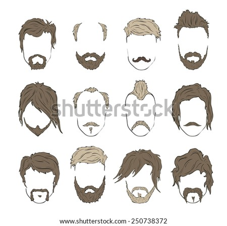 Illustrations hairstyles with a beard and mustache. stylish and fashionable - stock vector