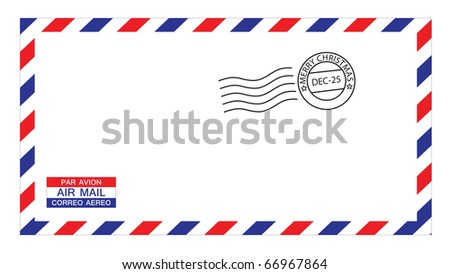 illustrations of airmail envelope with christmas postmark, put your own stamp. - stock vector