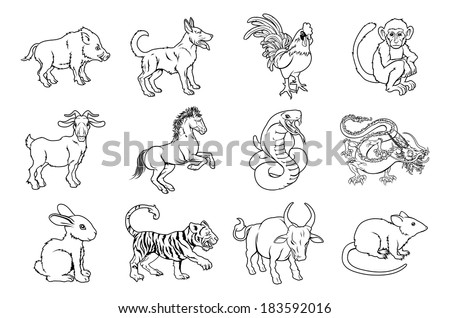 Illustrations of all twelve Chinese zodiac sign icon animals - stock vector