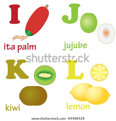Illustrations of alphabet letters from I to L with pictures of fruits - stock vector