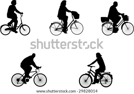 illustrations of bicycle riders - stock vector