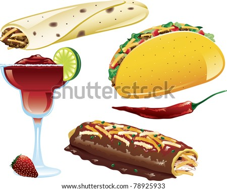 Illustrations of different mexican food icons - stock vector